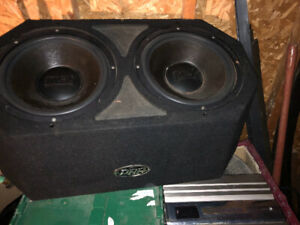 Mtx subwoofers with box and amp