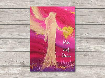 """♥ Engel Postkarte """"Hör auf Dein Herz!"""" Engelkarte Grußkarte Liebe Freundschaft"""