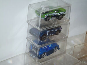 CLEAR PLASTIC CAR DISPLAY STACKING CUBE CASES HO 1/64