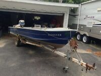 16 FT ALUMINUM BOAT, MOTOR AND TRAILER
