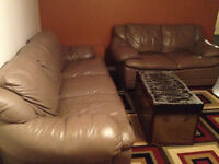 super comfy solid built leather couch and loveseat