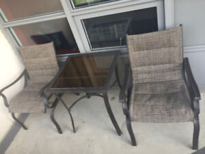 3-Piece Bistro Patio Set With Glass Table