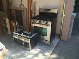 Stainless Steel Gas Range and Microwave