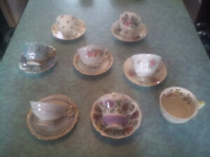 7 mint English cups / saucers great collection