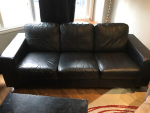 BLACK LEATHER COUCH SET -GREAT DEAL