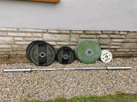 7ft Olympic bar with weights.