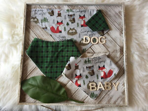 Fox Printted Baby Bib With Matching Reversible Dog Bandanna