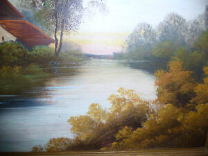 """Vintage Oil Painting, """"Early Morning River"""" 1920's Stratford Kitchener Area image 8"""