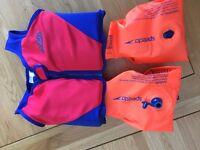 Zogg floatation jacket and speedo armbands