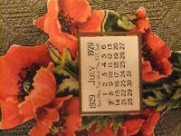 July 1929 calendar bookmark