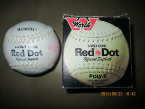 Vintage WORTH RED DOT LIVELY CORE Official Softball New In Box