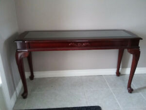 Solid wooden carved glass top hallway console table