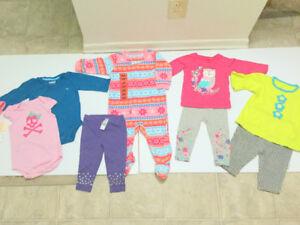 Baby Girl (9 m.) Dresses, 3 Leggings (8 pc.) (Free Hat & Socks)