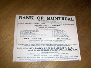 VINTAGE 1916 BANK OF MONTREAL ADVERTISEMENT-COLLECTIBLE!