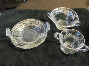 VINTAGE GLASSWARE WITH ETCHING