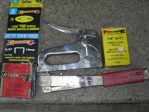 2 Staplers - A Hammer Tacker and A Construction Stapler