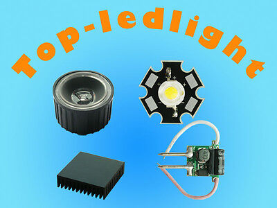 1w White High Power Star Led Light 15 Degree Lens Dc12-24v Driver Heatsink