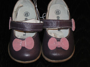 Genuine Leather Baby Kids Shoes Brown/Pink 12-18 mths SIze 6 NEW