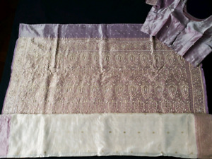 BRAND NEW Lavendar & Gold Pure Silk Saree - $200