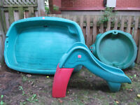 Childrens' pool with the slide and sand box for sale
