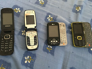 4 different cell phones w/ chargers