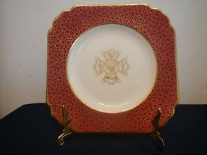 Plate George Jones Crescent Gold Ruby Red England 1872