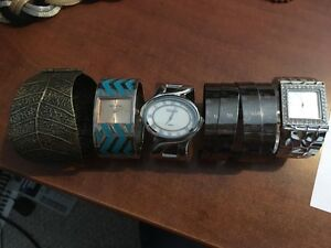 3 fashion watches, 2 cuff brackets