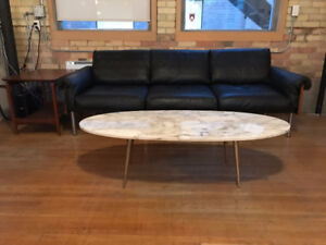 Italian Mid Century Marble Coffee Table with Brass Legs