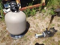 Pool sand filter with working pump