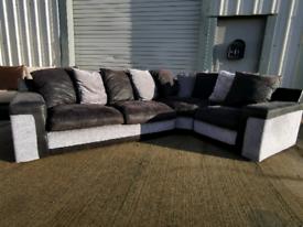 Scs black & grey corner sofa couch suite 🚚