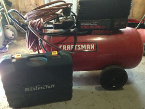 Craftsman air compressor, hoses and 3 in 1 nailer