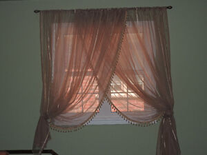 Long beige curtains