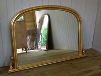 Lovely Large Gilt Framed Overmantle Mirror