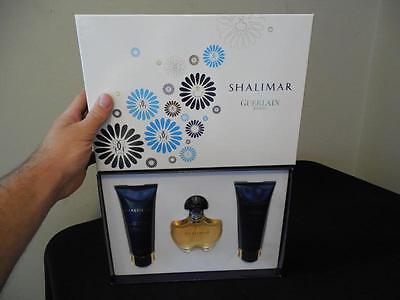 - Vintage Shalimar Guerlain Paris Perfume Shower Gel Body Lotion Set w/ Box