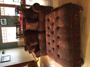 Chesterfield, loveseat and large ottoman