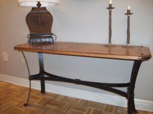 RUSTIC WOOD AND METAL TABLE