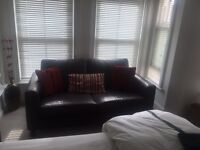 Brown leather 2seater sofa