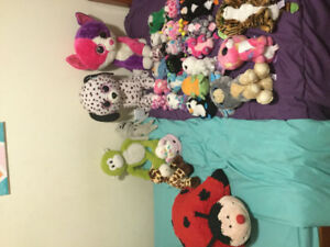 A variety  of Beanie boos, along with some other plush toys.