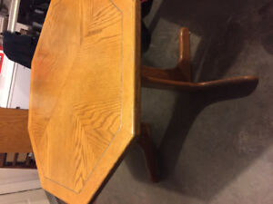 Octagonal Oak Dining Table and Chairs