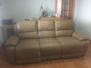 Reduced! Leather power recliner couch - less than 1 year old