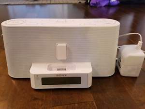 Sony FM/AM radio, clock, and old iPhone/iPod dock