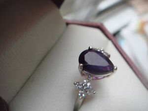 Sterling Silver Amethyst & Cubic Ring With Appraisal