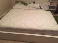 IKEA bed  matrress and pad with frame,head board.