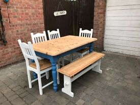 Large 6ft solid pine farmhouse table 6 x chairs and dining bench seats 6/8