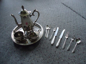Silver Plated Tea Set plus Knives Forks and Spoons
