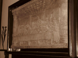 Last Supper 3 dimensions wood carving with frame.