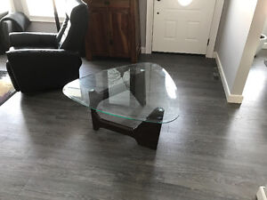 Glass new age coffee table