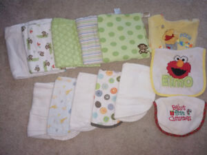 Lot of baby boys items (receiving blankets burping pads bibs )