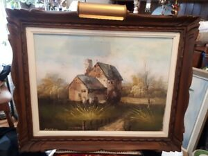 old original oil painting with brass lamp