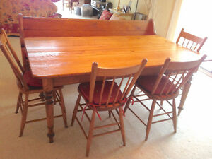 Farmhouse Harvest TABLE, Chairs, PEW seat, HUTCH/Buffet